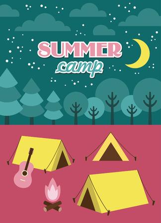 campamento de verano: dise�o de tarjeta de campamento de verano. ilustraci�n vectorial