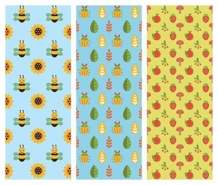 cute insect patterns collection. vector illustration Vector