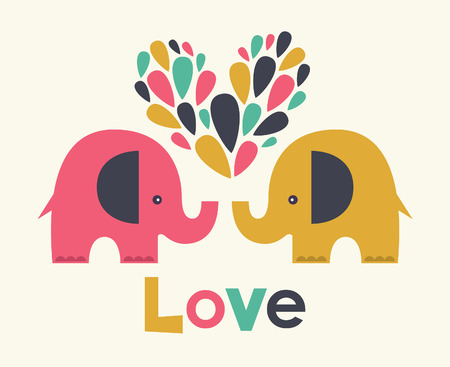 cute elephants in love. vector illustration