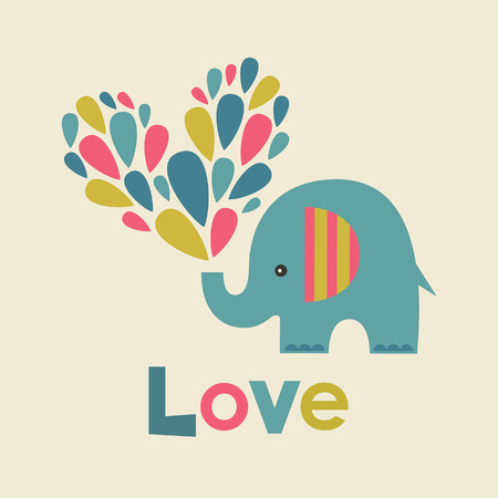 cute graphic: cute elephant in love. vector illustration
