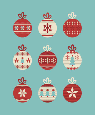 decorated christmas tree: cute christmas balls set. vector illustration