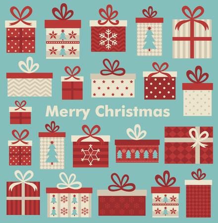 cajas navidad: diseño de la tarjeta de Navidad. ilustración vectorial