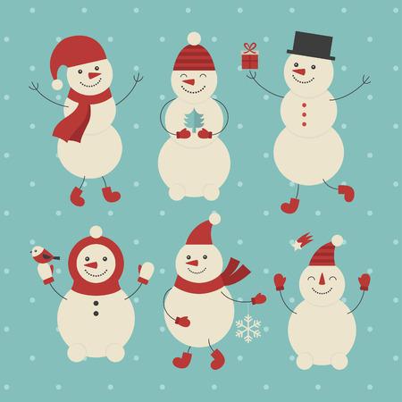 snowman set desidn. vector illustration