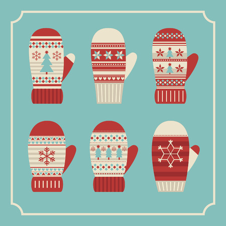 christmas mittens card design. vector illustration