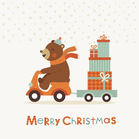 bruin: merry christmas card design. vector illustration
