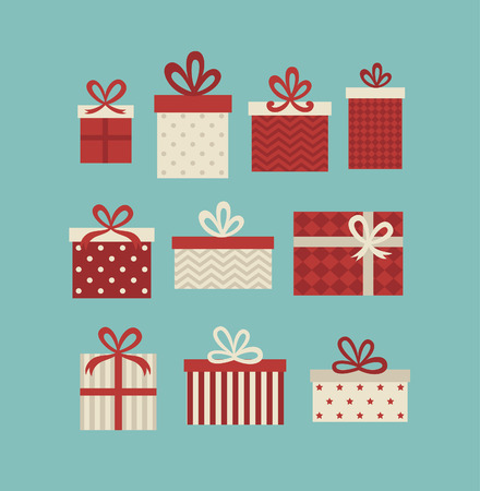gift wrapping: gift boxes set. vector illustration Illustration