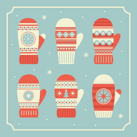 merry christmas mittens collection. vector illustration
