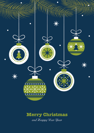 decorated christmas tree: merry christmas card design. vector illustration