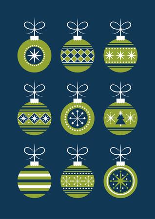 tree decorations: cute christmas balls set. vector illustration