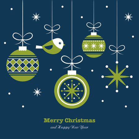 christmas ball: merry christmas card design. vector illustration