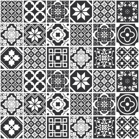 Decorative design pattern tuile monochrome. Vector illustration.