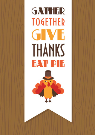 harvest time: Happy Thanksgiving Day card design. Vector illustration.