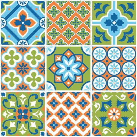 Decorative colorful tile pattern design. Vector illustration.