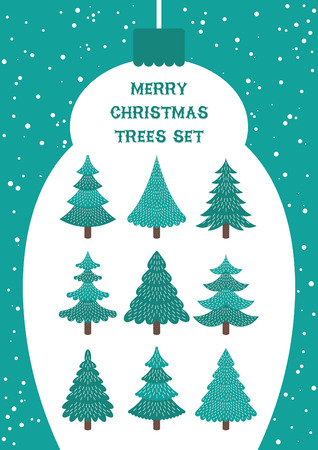 Cute set of Christmas Trees isolated on white. Vector illustration.