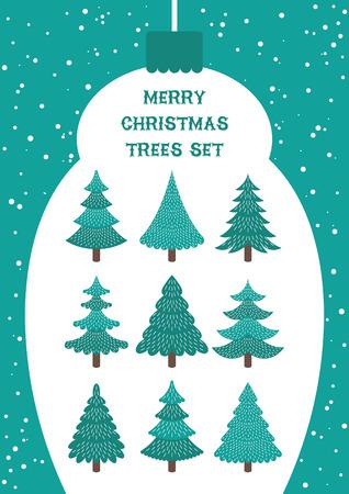 Lindo conjunto de árboles de Navidad aislado en blanco. Ilustración vectorial