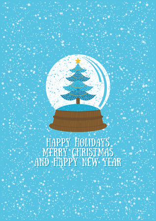 Christmas greeting card with Christmas tree in snow globe. Vecrtor illustration.
