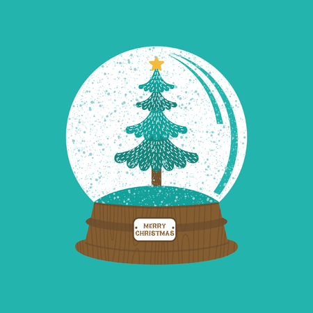 Christmas greeting card with Christmas tree in snow globe. Vecrtor illustration. Illustration