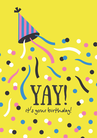popper: Fun Happy Birthday greeting card. Vector illustration. Illustration