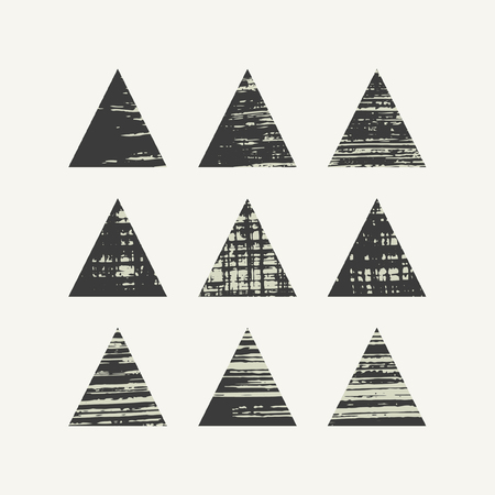Grunge triangles set. Vector illustration. Illustration