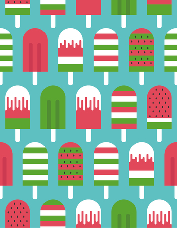 Watermelon ice cream seamless pattern. Vector illustration.