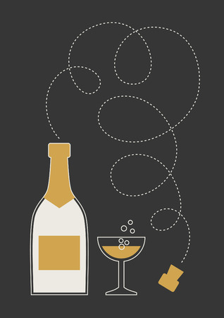 Bottle of champagne and wine glass. Minimalistic flat vector illustration.