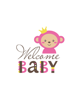 Baby girl shower card design. vector illustration. Illustration