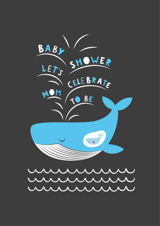 honoring: Cute baby shower card design. Mother and baby whale. Vector illustration.