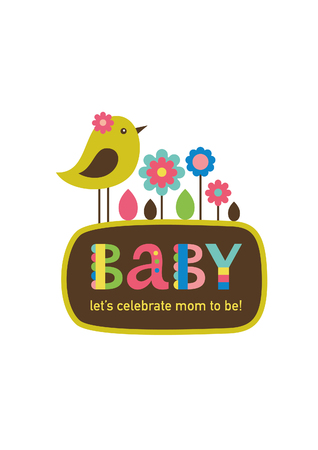 honoring: cute baby shower card design. vector illustration