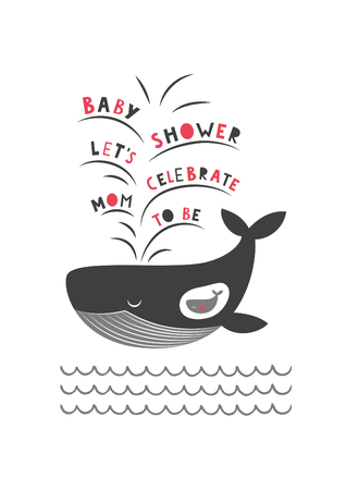 whale baby: Cute baby shower card design. Mother and baby whale. Vector illustration.
