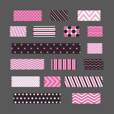 patterned tapes set. vector illustration