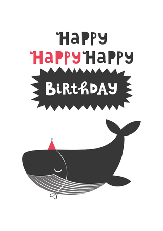 Happy Birthday greeting card with cute whale. Vector illustration. Illustration