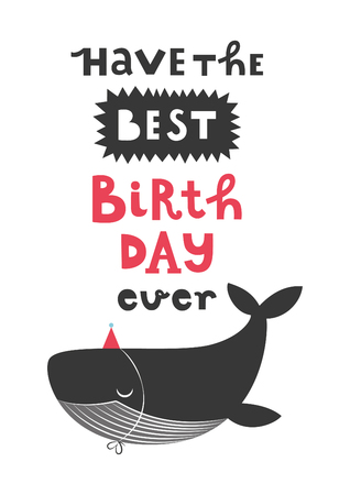 Happy Birthday Greeting Card With Cute Whale Vector Illustration