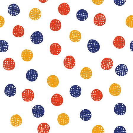 Chaotically hand drawn polka dot pattern. Vector illustration. Illustration