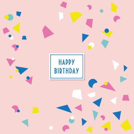 Fun confetti birthday card. Vector illustration.