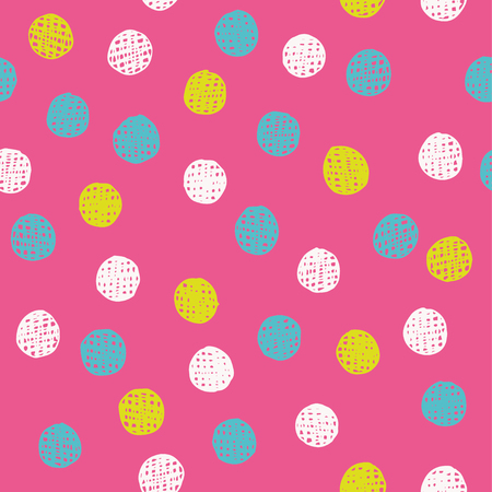 Chaotically hand drawn polka dot pattern. Vector illustration. Illustration