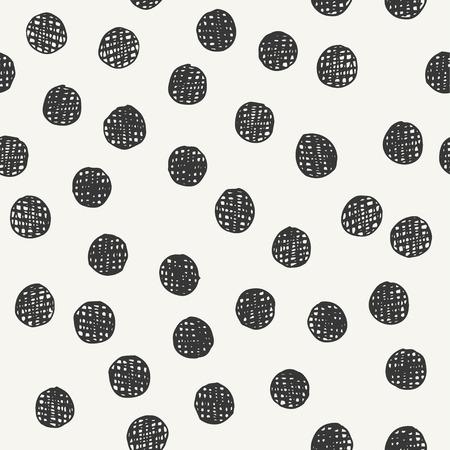 chaotically hand drawn polka dot pattern. vector illustration