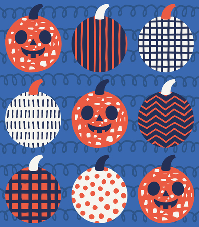 Fun Halloween seamless pattern design. Vector illustration. Ilustração