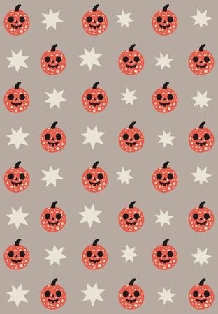 Fun Halloween seamless pattern design with pumpkin. Vector illustration.