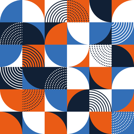 Graphic circles seamless pattern. Vector illustration.