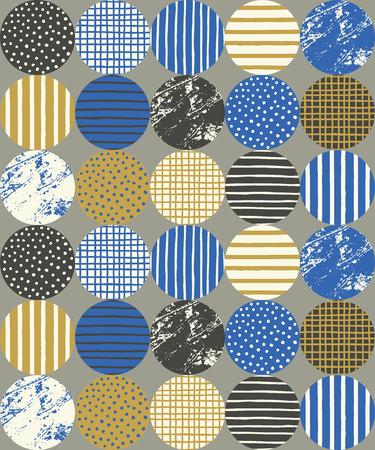 Textured circles seamless pattern. Vector illustration.