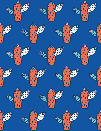Bright cactus pattern design. Vector illustration.