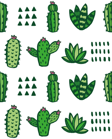 Cute cactus and succulent pattern design. Vector illustration.