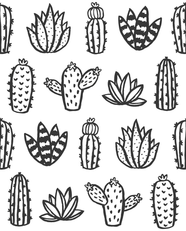 Hand drawn monochrome cactus and succulent seamless pattern. Vector illustration. Illustration