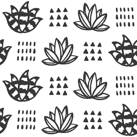 Hand drawn monochrome succulent seamless pattern. Vector illustration.