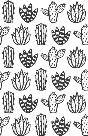Hand drawn monochrome cactus and succulent seamless pattern. Vector illustration. Ilustração