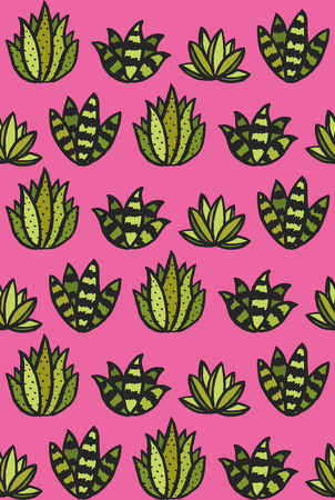 Succulent seamless pattern design. Vector illustration.