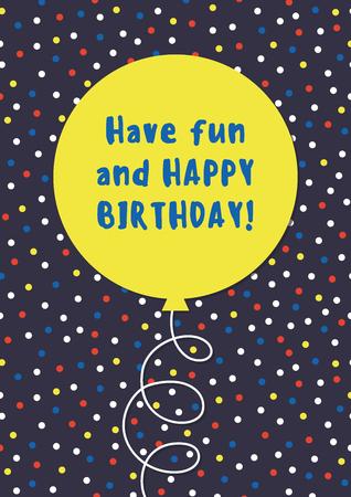 Fun Birthday Card design with balloon. Vector.