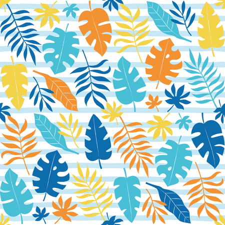 Colorful palm leaves seamless pattern design. Vector illustration.