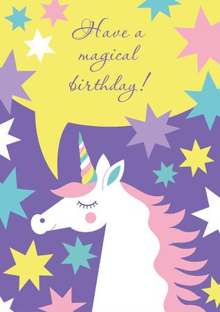Magical unicorn cute card design.