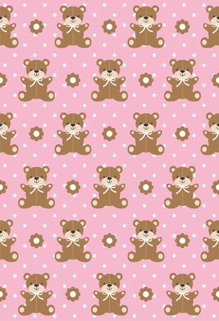 Cute bear toys seamless pattern. Vector illustration.